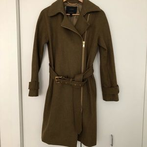 J.Crew Wool Belted Trench Coat, Olive Green